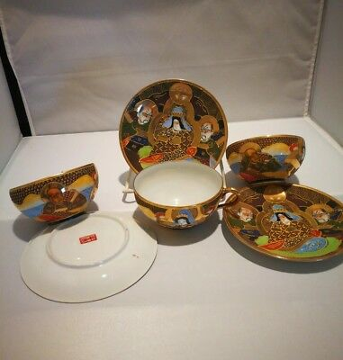 Antique Japanese Satsuma 1 tea cup and saucer set cloisonne gold, offer for 1ps