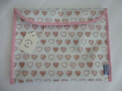 Baby Health Red Record Book Holder 'PINK HEARTS' Oilcloth - Shower Gift-BNWT