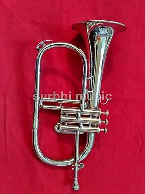 Flugel Horn 3 Valve Made of Brass in Silver Chrome Polish With Case & Mouthpc.