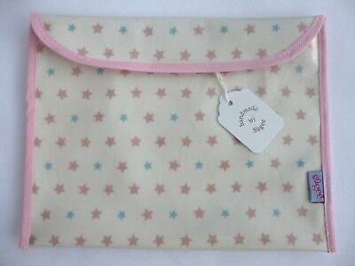 Baby Health Red Record Book Holder 'PINK/BLUE STARS' Oilcloth - Shower Gift-BNWT