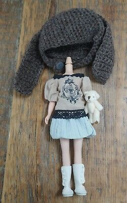 Blythe outfit skull lace top skirt bunny ears knitted hat takara body teddy bear