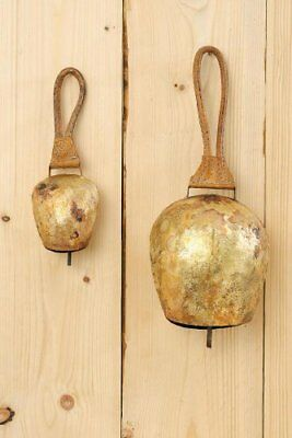 Swiss Cow Bell With Leather Handle Home Ornament