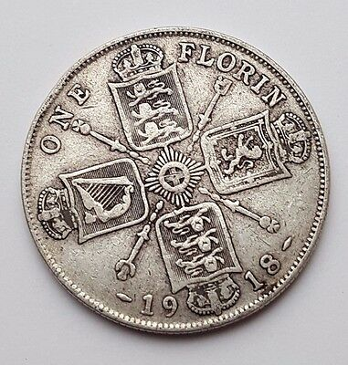 Dated : 1918 - Silver - One Florin / Two Shillings - Coin - King George V - Rare
