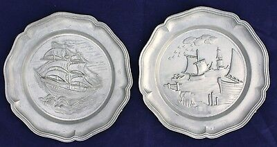 Set Of 2 Pewter Collector Plates - Wall Ornaments With Boat Designs