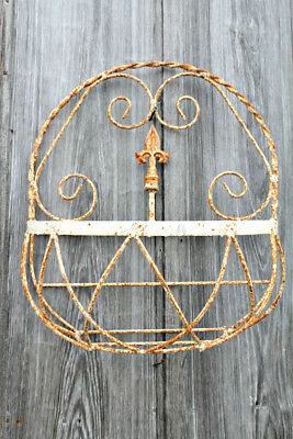"""18"""" Wrought Iron Med  Half Basket with Finial Decorative Wall Basket"""