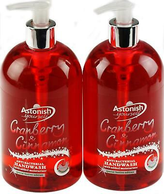 Set of 2 Christmas Antibacterial Scented Hand Wash Soap - Cranberry Cinnamon