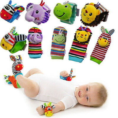 NEW Born Baby Infant Socks Wrist Bands Rattle SOUNDS Rattling Sensory Toy Gift