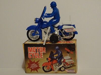 "Rare Vintage Clockwork Hong Kong Plastic Police ""Motor Cycle"" Ace-Toy 1015A Mint"