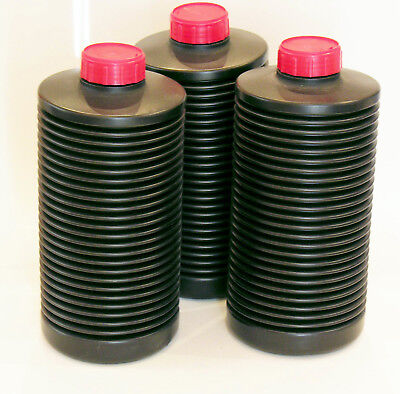 Three (3) plastic bottles for storing photographic chemicals, you can remove air