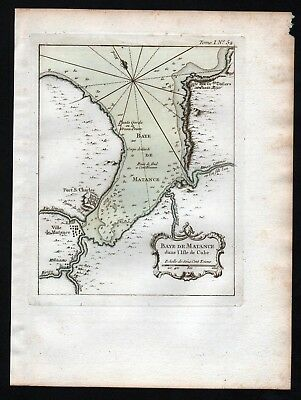 1764 - Cuba Kuba Matanzas city plan Bellin handcolored antique map