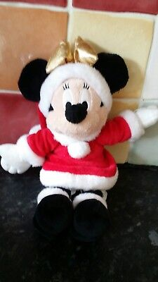 disney store minnie santa mrs clause soft toy