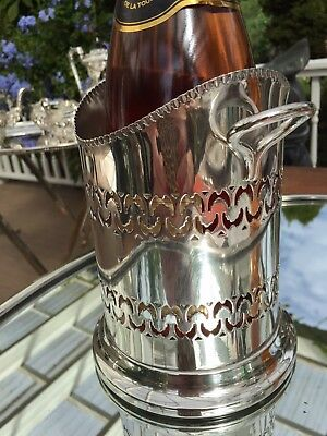 Antique English Silver Plate Tall Wine or Champagne Holder  Ribbon Edge