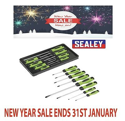 Sealey HV001 Hi-Vis Screwdriver Tool Set W/ Magnetized Tips 8 Piece Pozi Slotted