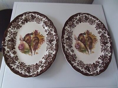 """ROYAL WORCESTER PALISSY """"GAME SERIES""""  OVAL DINNER PLATES x 2"""