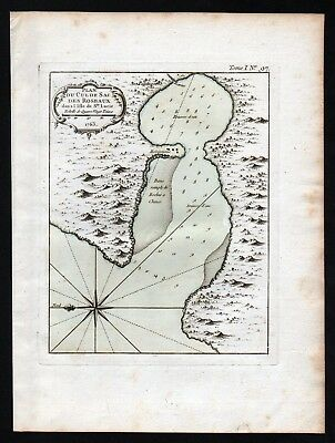 1764 - Roseau St Lucia island Lesser Antilles Bellin handcolored antique map