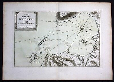 1764 - Saint Louis du Sud Haiti Hispaniola island Bellin handcolored antique map