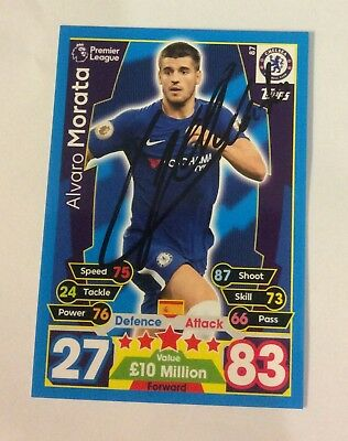 Brand New Match Attax 17 18 Card Signed Alvaro Morata Chelsea