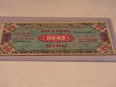 Ww2 Era German Allied Military Banknote 20 Marks Series Circulated Cond.