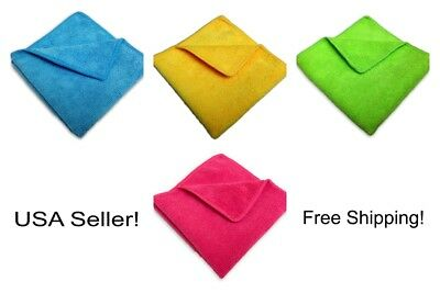 """96 Microfiber 12""""x12"""" Cleaning/Auto Detailing Cloths MIXED COLORS PRO GRADE"""