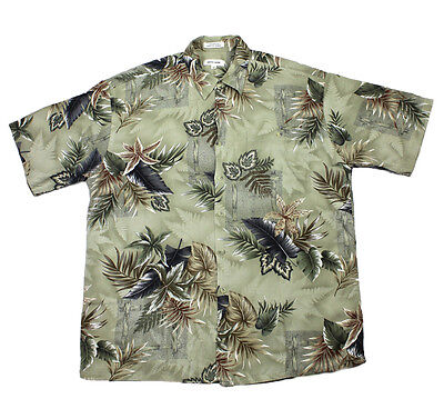 7dd652b99 Vintage Pierre Cardin Green Rayon Hawaiian Luau Hawaii Aloha Shirt Mens  Large