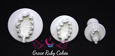 Holly Leaf Plunger Cutters Christmas Frozen Fondant Icing Cake Decorating Set
