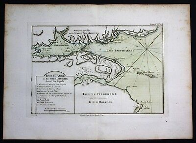 1764 - Nova Scotia Canada Cape Dauphin Bellin handcolored antique map