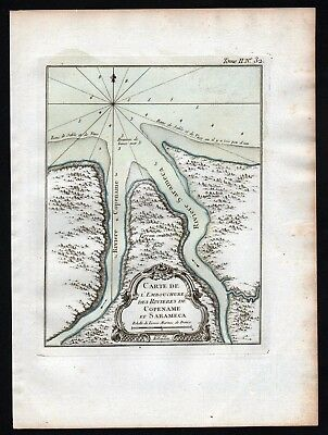 1764 - Coppename River Saramacca Suriname Bellin handcolored antique map