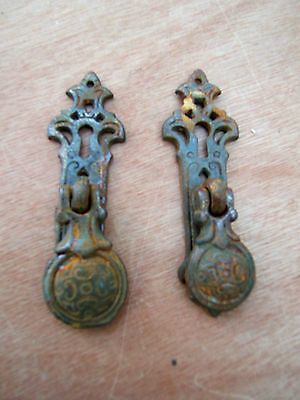 2 Antique Wrought Iron Drop Cabinet Handle  Pulls Scroll Finish - Artisan Made