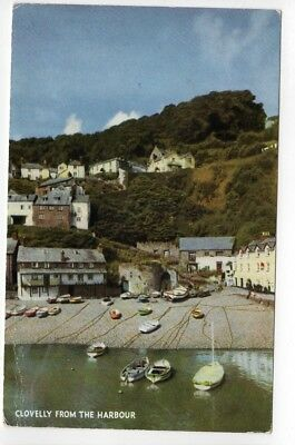 Clovelly from the harbour — unused Salmon Cameracolour postcard
