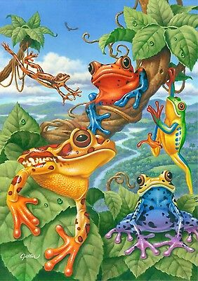 NEW TOLAND GARDEN FROG FLAG EXOTIC BRIGHT COLORFUL FUN TREE FROGS 12.5 x 18