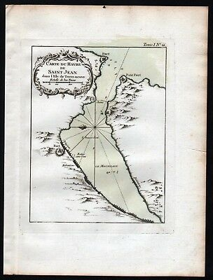 1764 - Newfoundland Canada St Johns Bellin handcolored antique map
