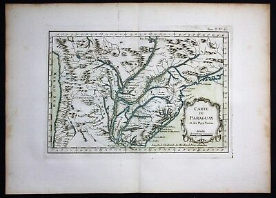 1764 - Brazil Sao Paolo Curitiba Bellin handcolored antique map