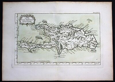 1764 - Hispaniola Haiti Dominican Republic island Bellin handcolored antique map
