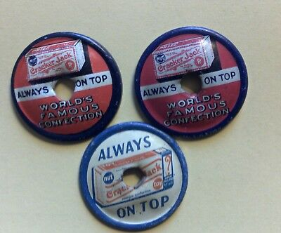 (3) Vintage Early Cracker Jack Prize Tin Litho Spinning Tops Always on Top