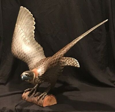 Magnificent Large Hand Carved &Painted  Wood Eagle On A Perch