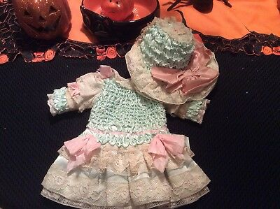 A beautiful Antique Made Dress And Hat For A Jumeau,steiner Or German Doll