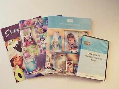 4-lot-stampin up idea book & catalogs-2003-04 & 2005-06-DVD-getting started-news