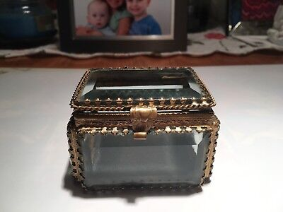 Vintage Small Brass beveled Glass trinket box hinged top! Nice detail work.picts