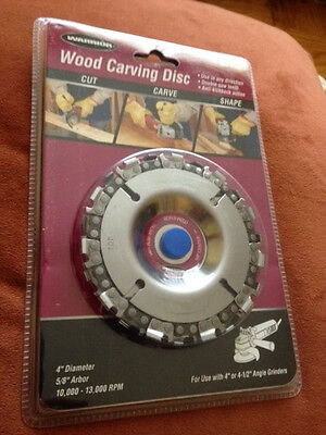 "NEW 4"" DIA WARRIOR Wood Carving Disc 4"" or 4-1/2"" Angle Grinders! 61638 SEALED"