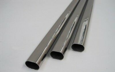 Stainless Steel Tube Oval Polished Curtain Towel Rod Rail 22x15x1800mm