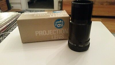 16MM SUPER 16 75MM F1.8 PROJECTOR LENS EIKI In Original Box Unused Condition