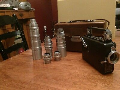 vintage magazine cine- kodak movie camera with case and extra lenses