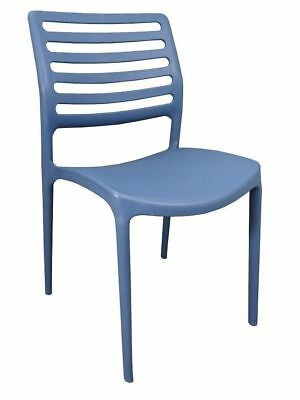 Bulk Lot 24 x New Outdoor CHAIR Stackable Cafe Seat UV Dining Chairs Louise Blue