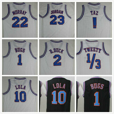 Space Jam Tune Squad Basketball Jersey Black White All Numbers All Stitched