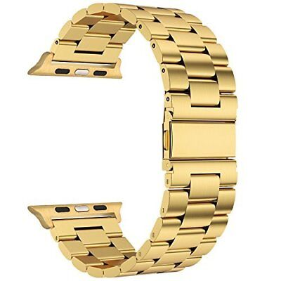 Steel Metal Clasp Buckle Wrist Strap  Watch - Gold/38mm
