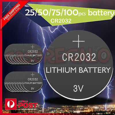 CR2032 3V LITHIUM CELL Button BATTERY 5004LC 2032 ECR2032 25/50/75/100 pcs