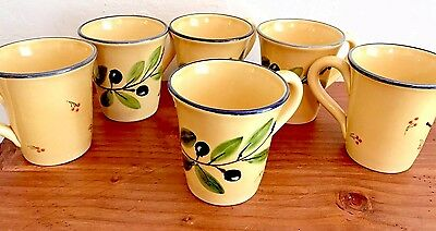 Sur La Table Pottery OLIVE Gold 1 Or All 6 MUGS CUPS Hand Painted ITALY 4