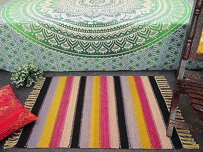 Indian Stripe Pattern Jute Cotton Rug Hand Woven Mat Floor Runner Carpet Dari