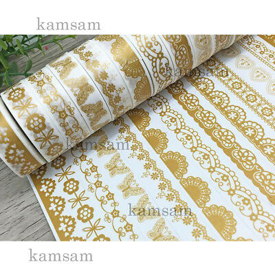 10m gold lace washi paper tape DIY handmade craft scrapbook gift wrap bar decor