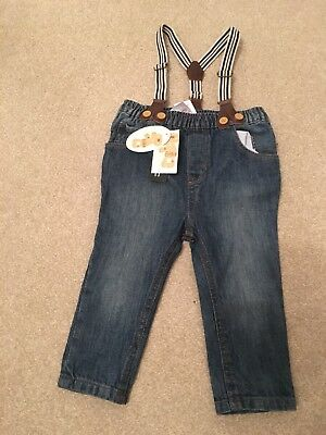 Brand New Boys Jeans With Braces Size 12-18 Months Baby Boy